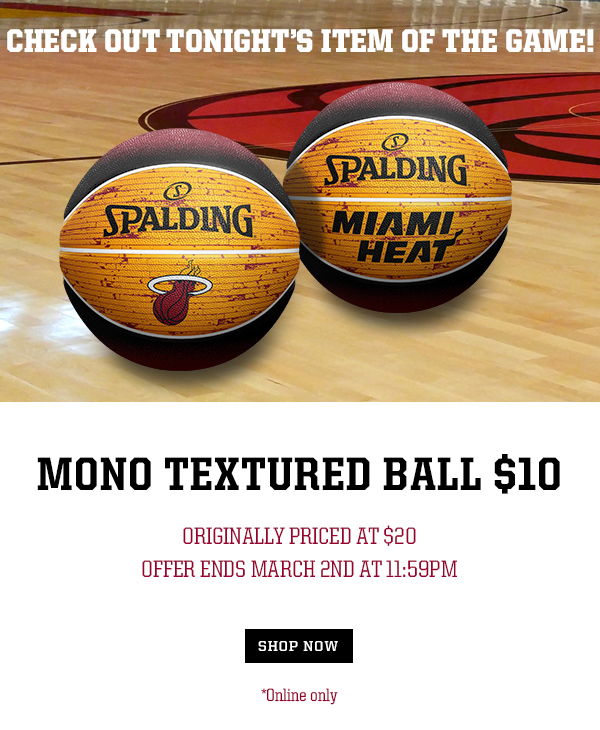 The Miami Heat Store : Item Of The Game: $10 Mono Textured