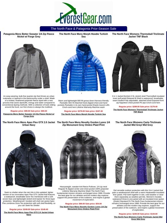 f7d592b9e6f1 EverestGear.com  The North Face   Patagonia Prior-Season Sale