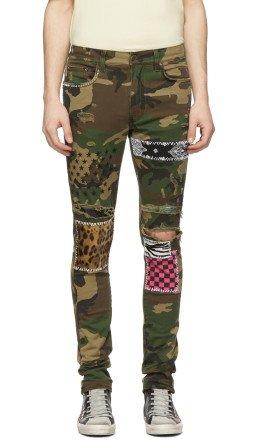 Amiri - Green & Brown Camo Art Patch Jeans