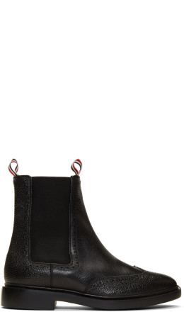 Thom Browne - Black Brogued Chelsea Boots