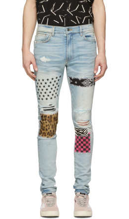 Amiri - Blue Art Patch Jeans