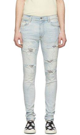 Amiri - Blue Sequin Zebra Jeans