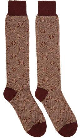 Gucci - Red Piquet Knit GG Socks
