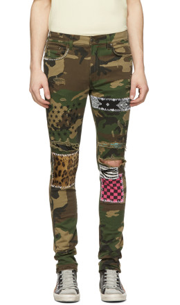 Amiri - Green & Brown Camo Art Patch Jeans