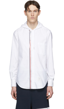 Thom Browne - White Zip-Front Oxford Shirt