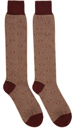 Gucci - Red Piquet Knit GG Socks