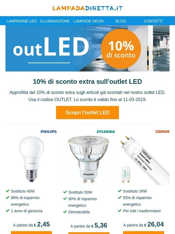 Lampadadiretta Outlet Led Milled