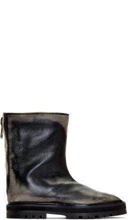 Maison Margiela - Black Leather Tabi Hunter Boots