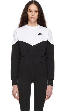 Nike - White & Black Sportswear Heritage Sweatshirt