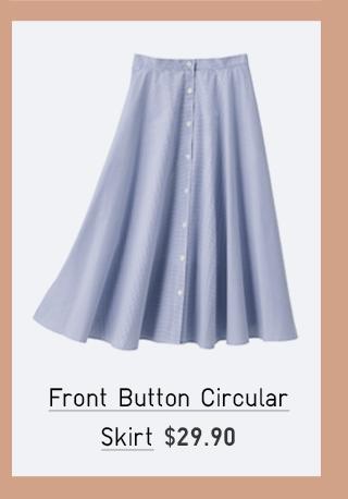 FRONT BUTTON CIRCULAR SKIRT $29.90
