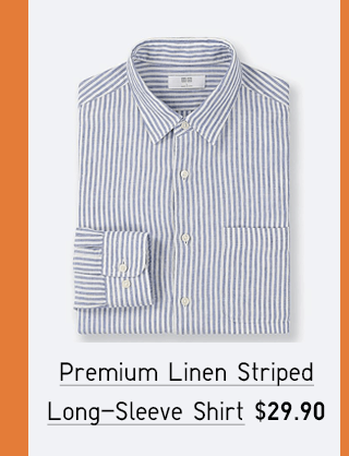 PREMIUM LINEN STRIPED LONG-SLEEVE SHIRT $19.90