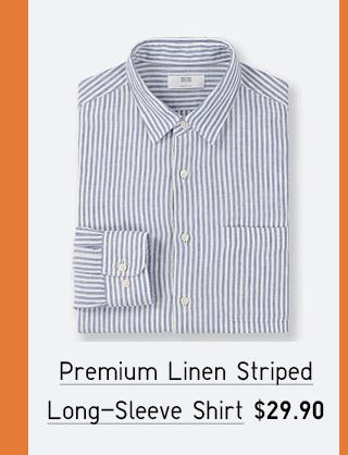 PREMIUM LINEN STRIPED LONG-SLEEVE SHIRT $19.90