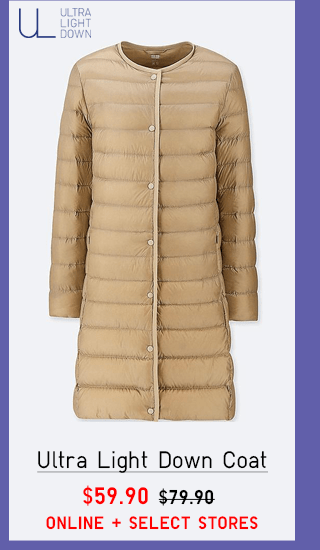 ULTRA LIGHT DOWN COAT $59.90