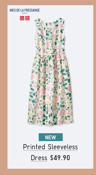 PRINTED SLEEVELESS DRESS $49.90