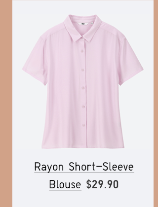 RAYON SHORT-SLEEVE BLOUSE $29.90