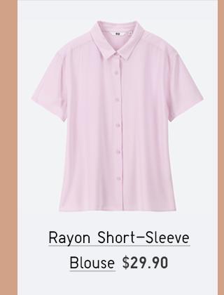 RAYON SHORT-SLEEVE BLOUSE $29.90