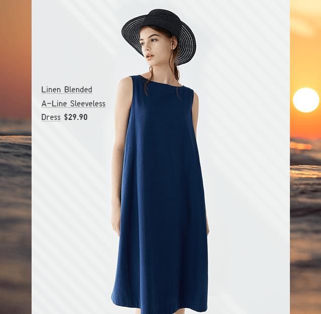LINEN BLENDED A-LINE SLEEVELESS DRESS $29.90