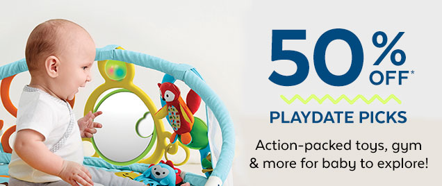 50% off* | Playdate picks | Action-packed toys, gym & more for baby to explore!
