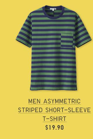 MEN ASYMMETRIC STRIPED SHORT-SLEEVE T-SHIRT $19.90