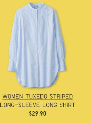 WOMEN TUXEDO STRIPED LONG-SLEEVE LONG SHIRT $29.90