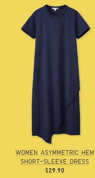 WOMEN ASYMMETRIC HEM SHORT-SLEEVE DRESS $29.90