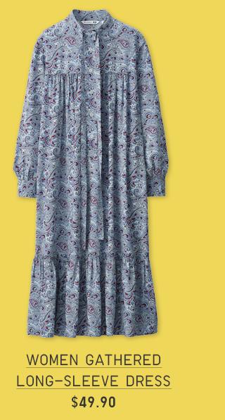 WOMEN GATHERED LONG-SLEEVE DRESS $49.90