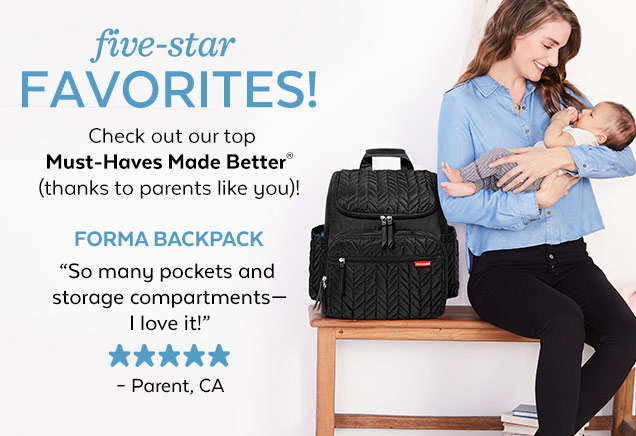 Five-star favorites! | Check out our top Must-Haves Made Better® (thanks to parents like you)! | Forma Backpack | 'So many pockets and storage compartments—I love it!' - Parent, CA
