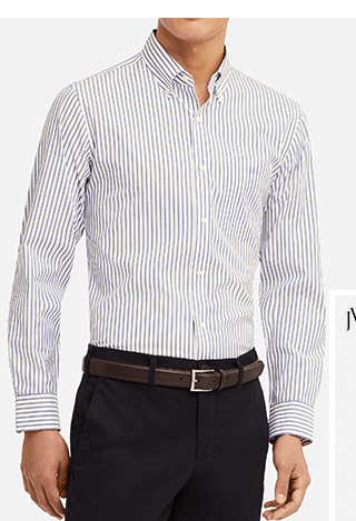 MEN EASY CARE STRIPED SLIM-FIT LONG-SLEEVE SHIRT - BUY 2, GET $5 OFF