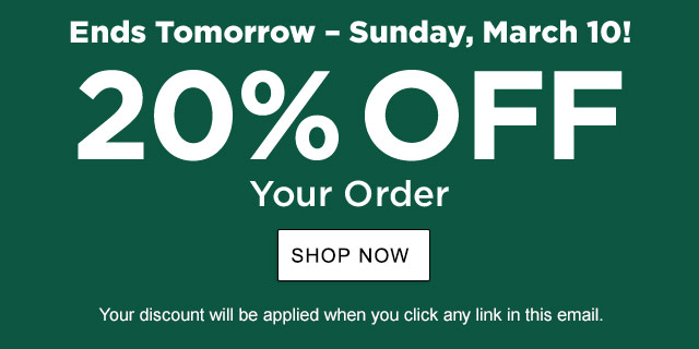 20% Off Your Order. Offer Ends March 10. Your exclusive one-time use Promo Code:GLBL-VFBP-KPS7-QNZD-BHPK. Discount applied when you click any link in this email. To redeem in retail stores, use barcode below.