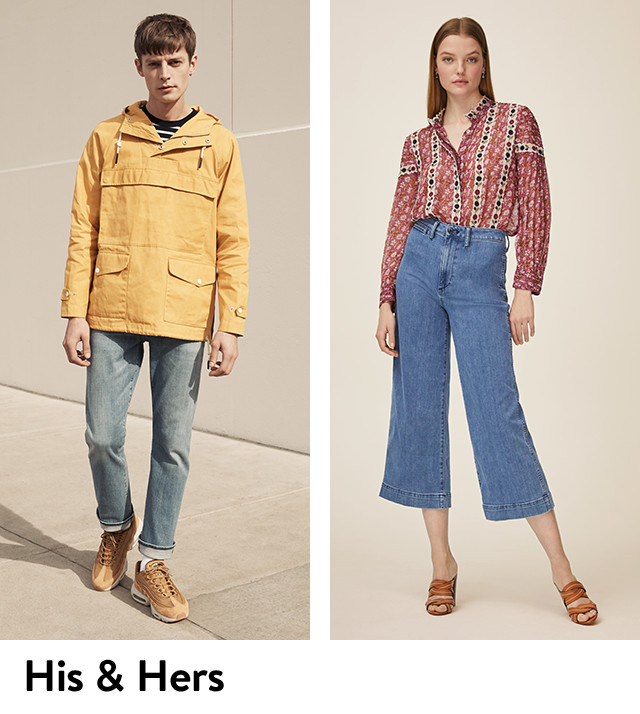 His and hers: jeans for men and women.
