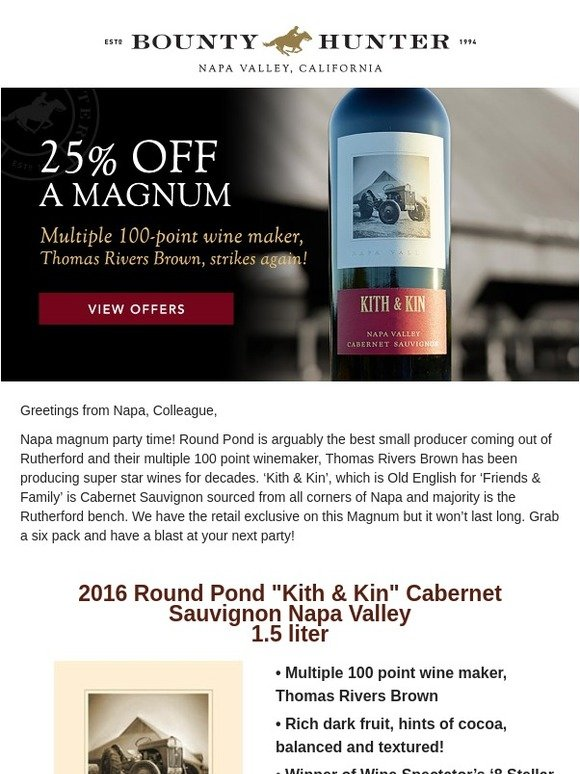 Bounty Hunter Rare Wine & Spirits: Go Big, 25% off Napa Valley