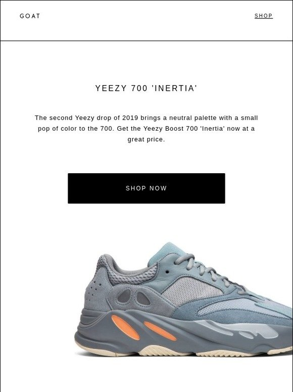 buy popular 711b8 f8b3e GOAT: Yeezy Boost 700 'Inertia' is available now at great ...