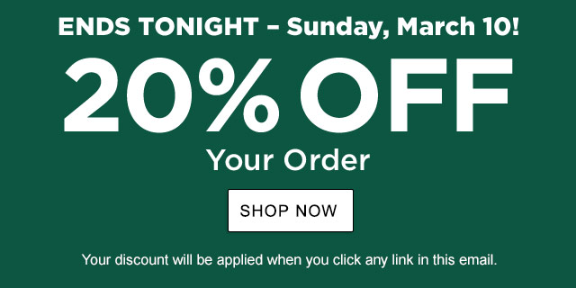 20% Off Your Order. Offer Ends TONIGHT. Your exclusive one-time use Promo Code: GLBL-VFBP-KPS7-QNZD-BHPK. Discount applied when you click any link in this email.