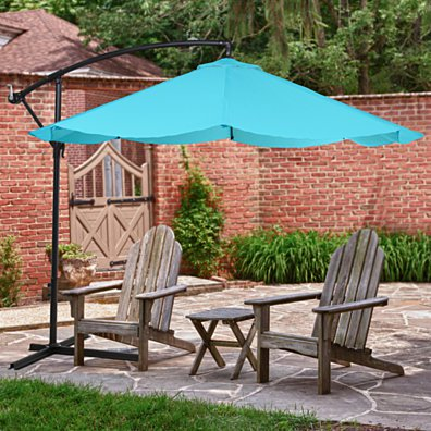 Offset 10 Foot Aluminum Hanging Patio Umbrella Sky Blue with Cross Base Bars