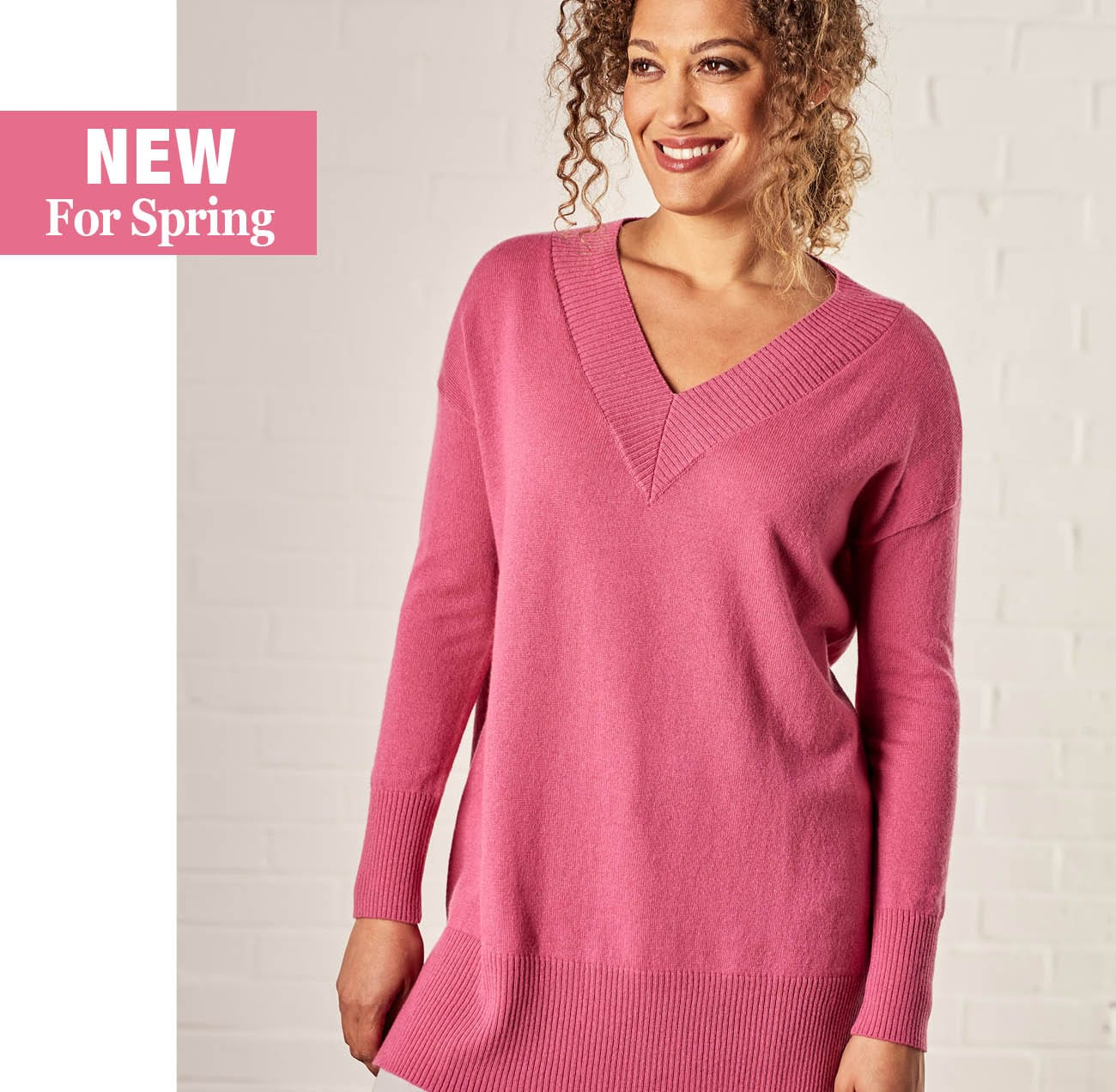 1d1f2ea817ad6a Womens Cashmere Merino Deep V Neck Tunic in Peony Pink