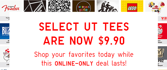 SELECT UT TEES ARE NOW $9.90