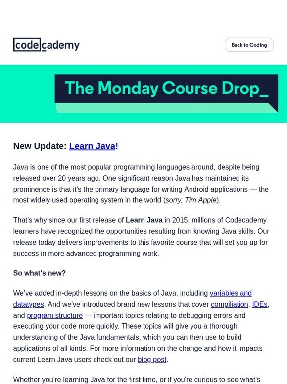 Learn SQL with Codecademy and Periscope: New Java updates