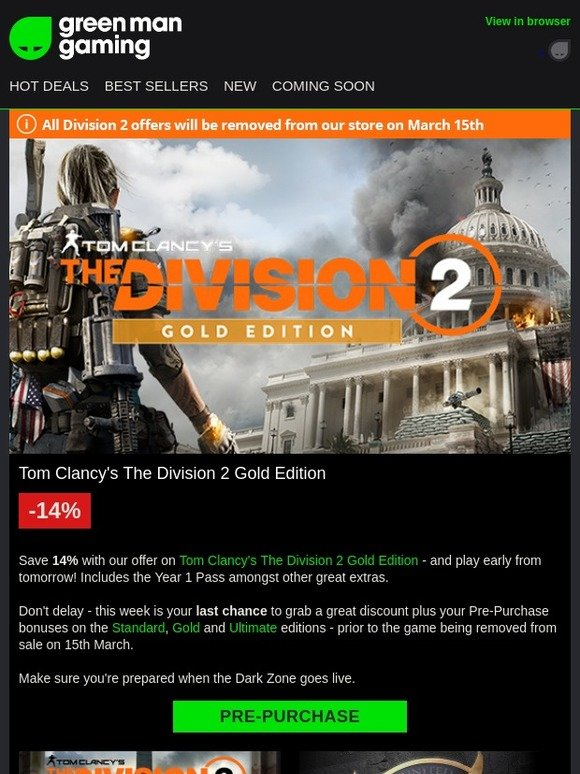 Green Man Gaming: Ending Soon   The Division 2 Gold - Save