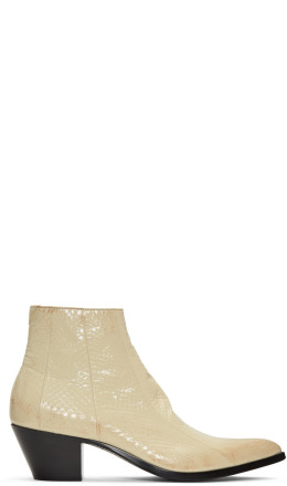 Saint Laurent - Off-White Finn Crop Zip Boots