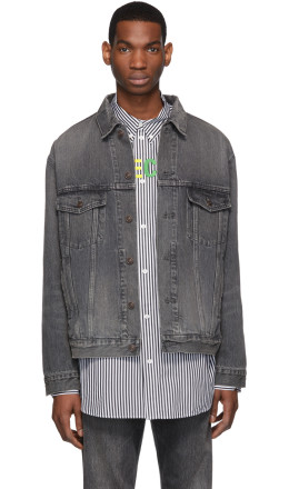 Balenciaga - Grey Denim Shadow Logo Jacket