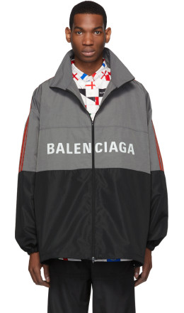 Balenciaga - Grey Logo Zip-Up Jacket