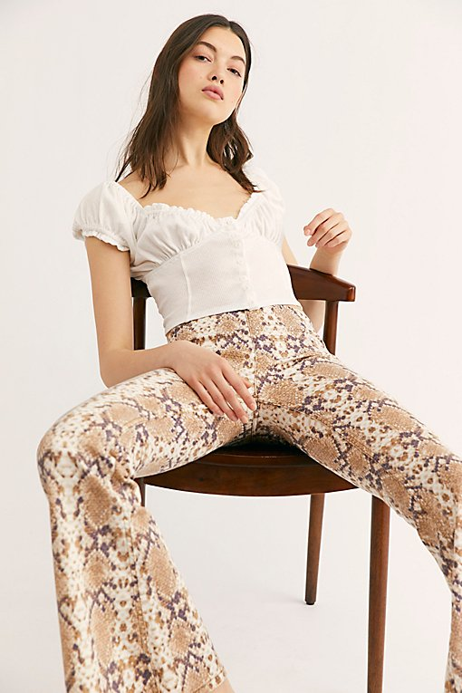 Printed Penny Pull-On Flare Jeans