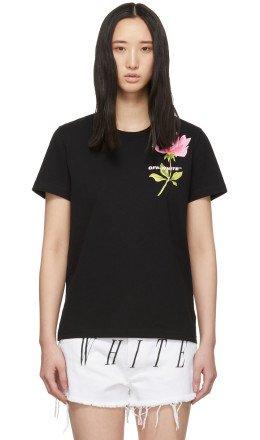 Off-White - Black Flowers T-Shirt