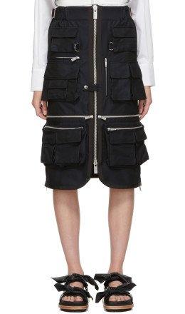 Sacai - Navy Gabardine Pocket Skirt