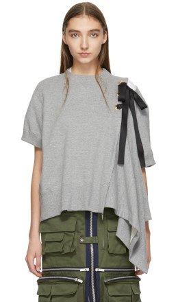 Sacai - Grey Lace-Up Sweatshirt