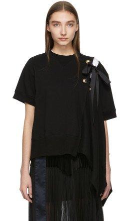 Sacai - Black Lace Up Sweatshirt