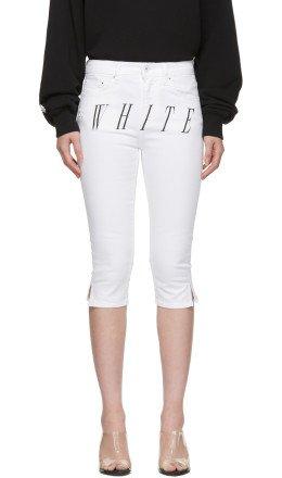 Off-White - White Denim Cropped Capri Shorts