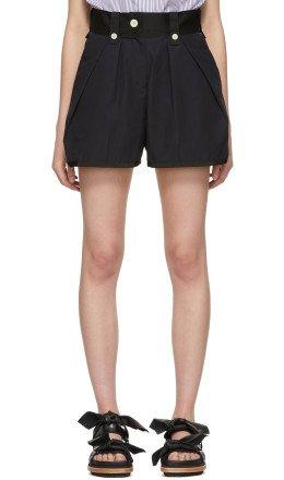 Sacai - Black & Navy Canvas Shorts