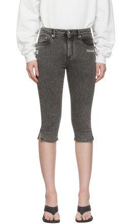 Off-White - Black Denim Cropped Capri Shorts