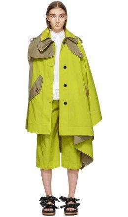 Sacai - Yellow & Tan Cape Coat